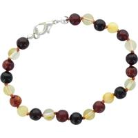 Bracelet Perles Rondes Ambre Multicolore Fermoir Métallique