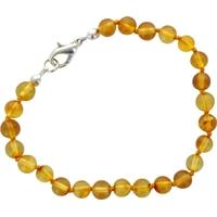 Bracelet Perles Rondes Ambre Miel Fermoir Métallique
