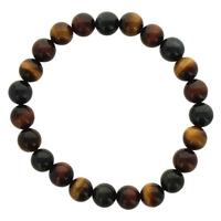 Bracelet Perles Rondes 8 mm Mix Oeil de Tigre, Taureau, Faucon - Qualité AAA