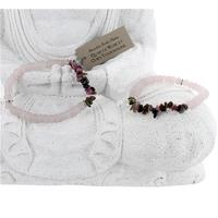 Bracelet Quartz Rose et Chips Tourmaline - Lot de 2