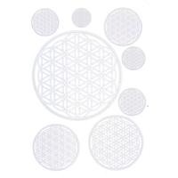 Autocollant Fleur de Vie - Argenté - Planche de 8 stickers