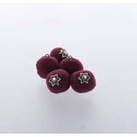 Pompon 20 mm Déco x 5 Prune - Lot de 12
