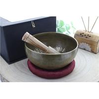 Bol Chantant - Fait Main Gravé Buddha - 14 cm - Coffret Bâton + Anneau Coussin