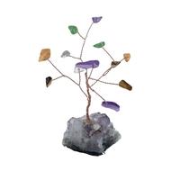 Arbre du Bonheur Quartz multicolore 12 pierres