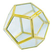 Dodécaèdre en Métal doré et Verre -  Diamètre 10 cm