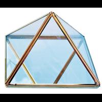 Pyramide en Métal Doré et Verre