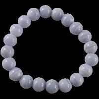 Bracelet Perles Rondes Calcédoine Bleue 10 mm