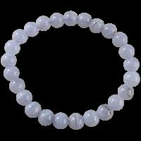 Bracelet Perles Rondes Calcédoine Bleue 8 mm
