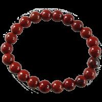 Bracelet Perles Rondes Jaspe Rouge 8 mm