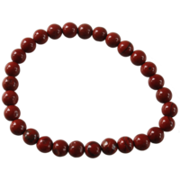 Bracelet Perles Rondes Jaspe Rouge 6 mm