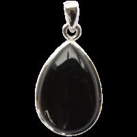 Pendentif Argent Goutte Obsidienne Noire