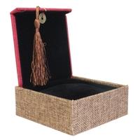 Boîte Carré Tissu Marron et Rouge 10 x 10cm