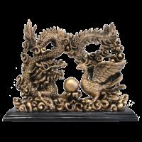 Dragon et Phoenix en Résine Dorée 23 cm