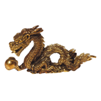 Mini Statue Dragon Laiton 5 x 3 cm - Lot de 3