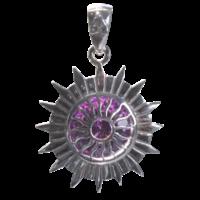 Médaille Chakra Sahasrara Argent 925 avec Amethyste - 2 cm