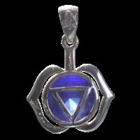 Médaille Chakra Ajna Argent 925 avec Saphir (synthétique) - 2 cm