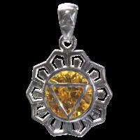 Médaille Chakra Manipura Argent 925 avec Citrine - 2 cm