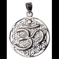 Médaille Fleur de Vie Avec Om Argent 925 - 2,8 cm