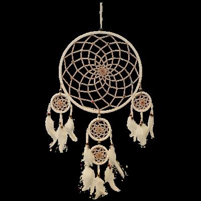 Dreamcatcher Blanc et Perles Colorées - Diamètre 30 cm