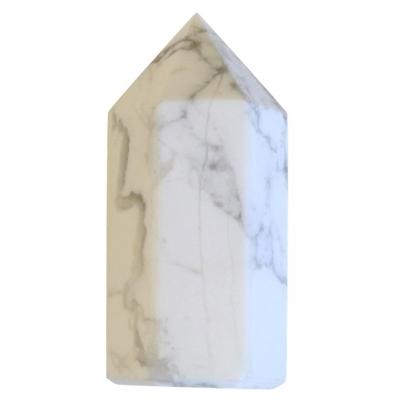 Pointe Polie Hexagonale Howlite Blanche - 3,5 cm - Lot de 3