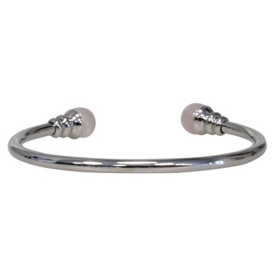Bracelet Magnétique Métal Argenté Jonc Finition 2 boules Quartz Rose
