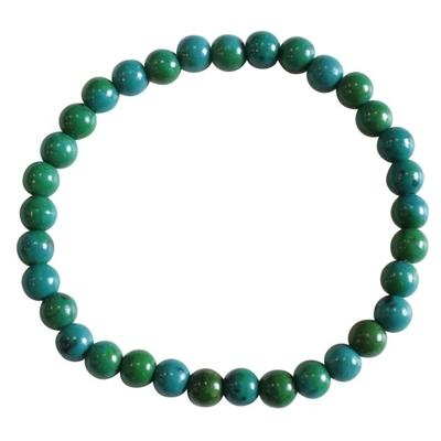 Bracelet Perles Rondes Chrysocolle Chauffée - 6 mm