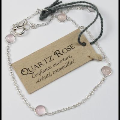 Bracelet en Argent Avec Pierres de Quartz Rose de 4 mm