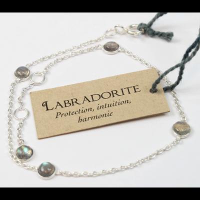 Bracelet en Argent Avec Pierres de Labradorite de 4 mm