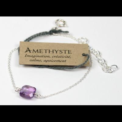 Bracelet en Argent Coussin d'Améthyste du Brésil