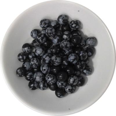 Perles Obsidienne Mouchetée 6 mm - Sachet de 66 perles