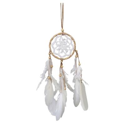 Dreamcatcher Blanc Bois de Saule et Crochet 9 cm