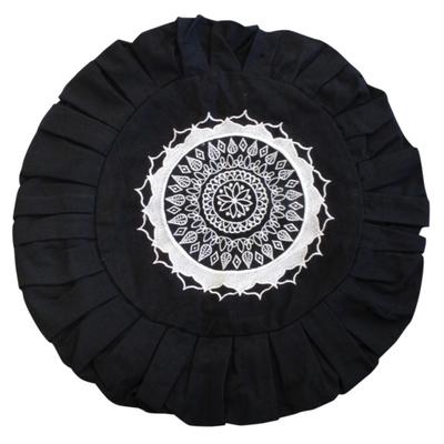 Housse Zafu Noire - Broderie Mandala Blanche