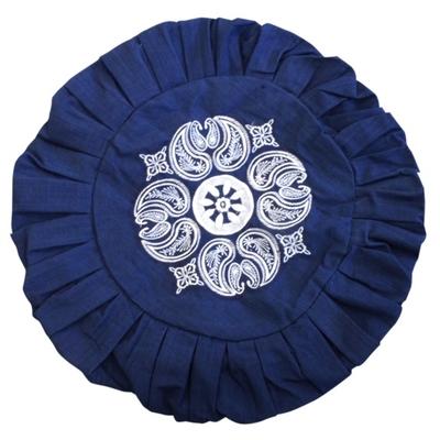 Housse Zafu Bleue Marine - Broderie Mandala Blanche
