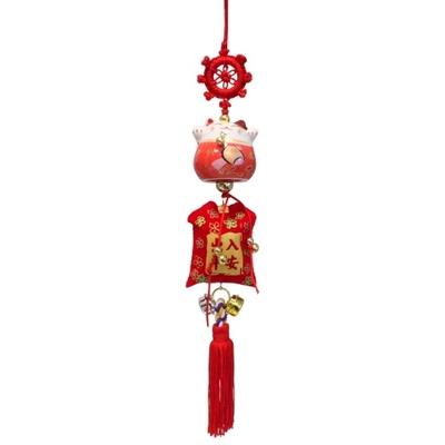 Porte-Bonheur Maneki Neko en Céramique Rouge 4,5 cm