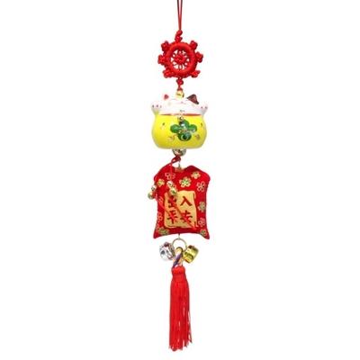 Porte-Bonheur Maneki Neko en Céramique Jaune 4,5 cm