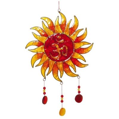 Attrape Soleil : Grand Soleil & Om - Rouge & Jaune Avec Perles