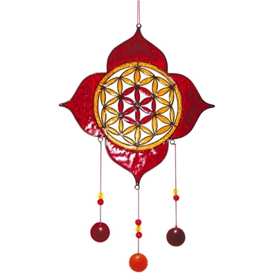 Attrape Soleil : Lotus Fleur de Vie - Rouge & Jaune
