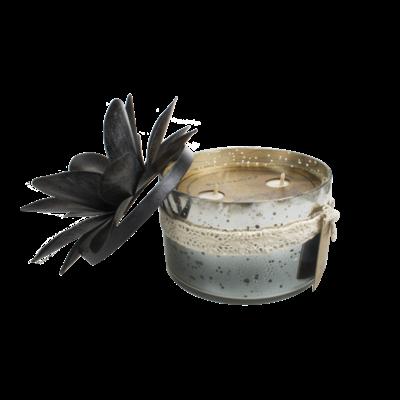 Bougie Verre 2 Mèches Coloris Noir - Senteur Relaxation