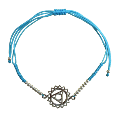 Bracelet Chakra Vishuddha Cordon Ajustable en Coton