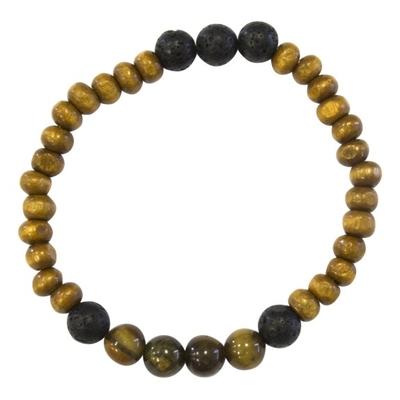 Bracelet Homme : Perles de Lave, Bois et Oeil de Tigre