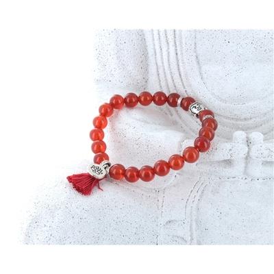 Bracelet Yoga Cornaline Pompon et Lotus
