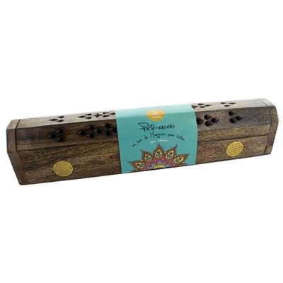 Boîte Bois Porte-encens avec Réserve - Ornement Doré Fleur de Vie - Lot de 2