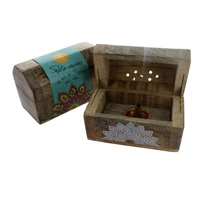 Boite Bois de Manguier pour Encens en Cônes - Ornement Mandala - Lot de 2