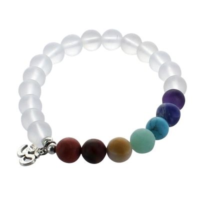 Bracelet 7 Chakras Perles Mates 8 mm Avec Médaille Métal Om