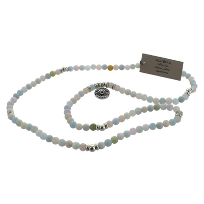 Mala en Mix de Béryl - 108 Perles de 6 mm - Médaille Mandala