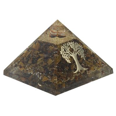 Pyramide Orgonite Oeil de Tigre avec Symbole Arbre de Vie