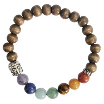 Bracelet 7 Chakras Bois Perles rondes 8 mm