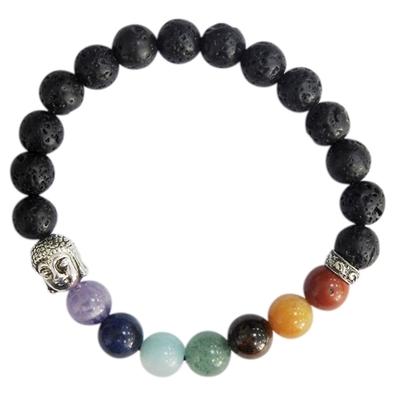 Bracelet 7 Chakras Pierre de lave Perles rondes 8 mm