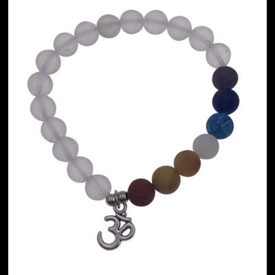 Bracelet 7 Chakras Cristal de Roche Perles rondes 8 mm Breloque Om