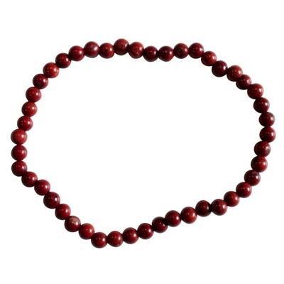 Bracelet Perles Rondes Jaspe Rouge - 4 mm